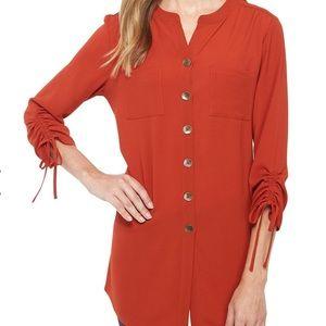 Ladies long top - rust color